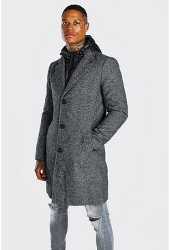 Grey Overcoat With Zip Through Hooded Puffer