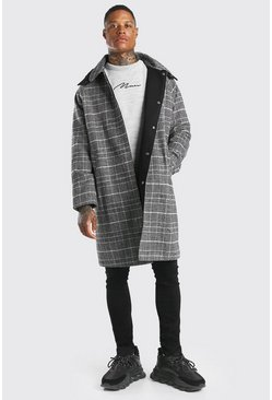Grey Check Smart Overcoat With Detachable Hood
