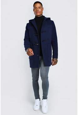 Navy Duffle Coat With Toggles