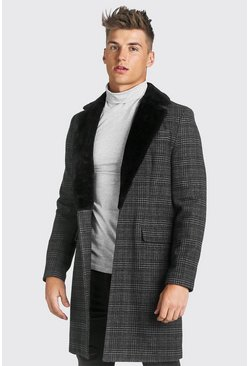 Grey Check Single Breasted Overcoat With Faux Fur Collar