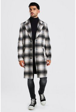 Multi Big Check Single Breasted Oversized Overcoat