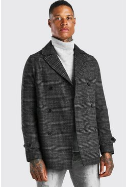 Grey Check Double Breasted Pea Coat