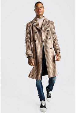 Camel Grid Check Double Breasted Brushed Overcoat