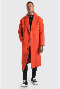 Orange Single Breasted Extra Longline Overcoat