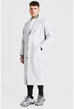 Light grey Single Breasted Extra Longline Overcoat