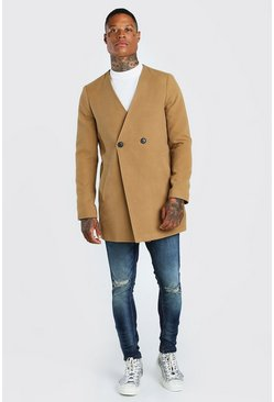 Camel Collarless Smart Double Breasted 2 Button Overcoat