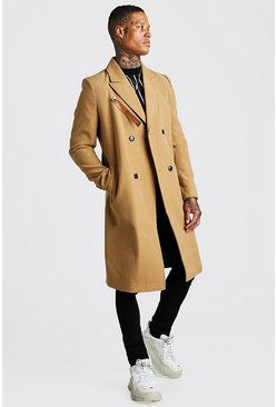 Camel Longline Overcoat With Leather Look Fastening