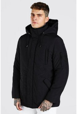 Black 4 Pocket Hooded Parka