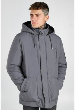 Grey 4 Pocket Hooded Parka
