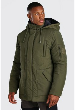 Khaki 4 Pocket Hooded Parka