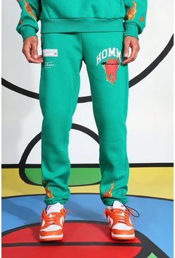 Green Tall Homme Flames Jogger