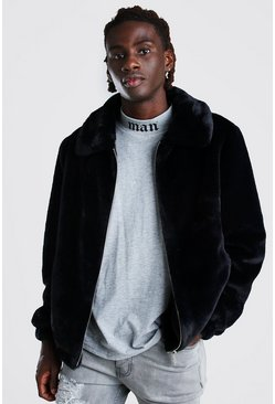 Black Faux Fur Collared Bomber Jacket
