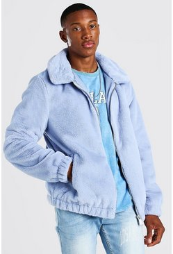 Blue Faux Fur Collared Bomber Jacket