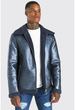 Blue Metallic Leather Look Zip Through Aviator
