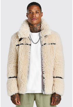 Cream Teddy Faux Fur Aviator With Leather Look Trims
