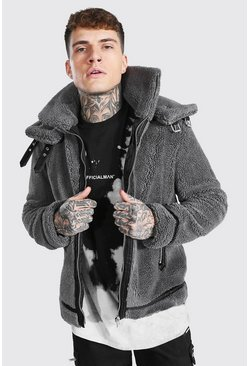 Grey Faux Fur Aviator With Double Collar