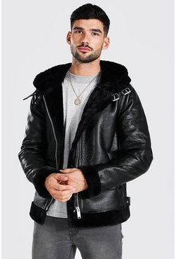 Black Leather Look Aviator With Fur Trim