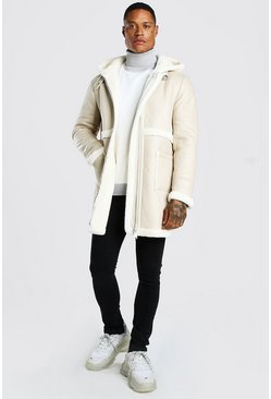 Cream Leather Look Borg Trim Longline Hooded Aviator