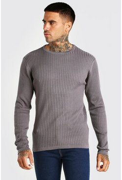 Grey Ribbed Crew Neck Jumper