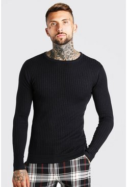 Black Muscle Fit Ribbed Crew Neck Jumper