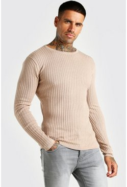 Taupe Muscle Fit Ribbed Crew Neck Sweater