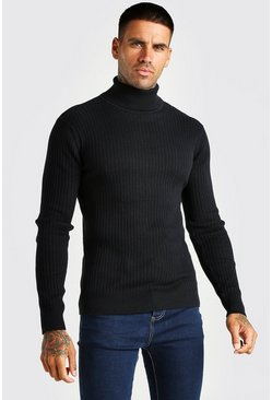 Black Ribbed Roll Neck Jumper