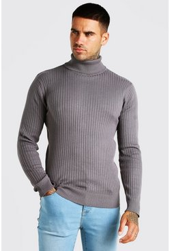 Charcoal Ribbed Roll Neck Jumper