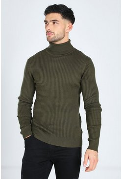 Khaki Ribbed Roll Neck Sweater