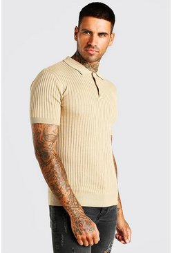 Camel Short Sleeve Muscle Fit Ribbed Knit Polo