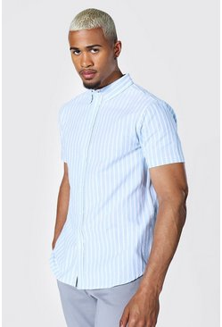 Blue Oxford Stripe Ss Shirt