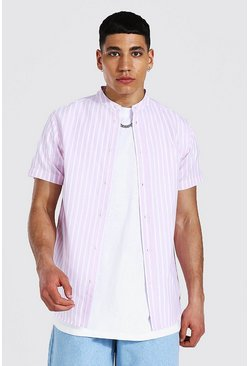 Pink Oxford Stripe Grandad Collar Ss Shirt