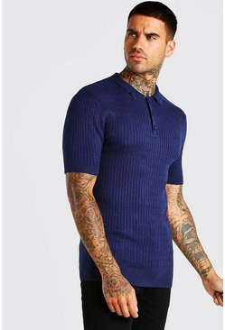 Navy Short Sleeve Muscle Fit Cable Polo