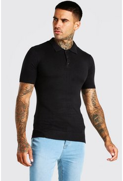 Black Short Sleeve Muscle Fit Knitted Polo