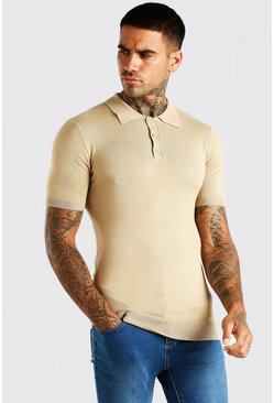 Camel Short Sleeve Muscle Fit Knitted Polo