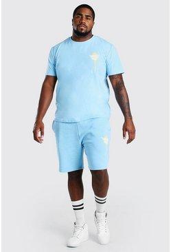 Blue Big And Tall MAN Graffiti T-Shirt And Short Set
