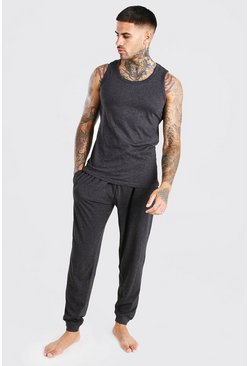 Charcoal Tank Top And Slim Pant Lounge Set
