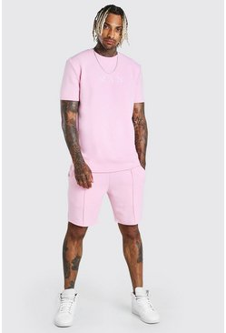 Ensemble short et t-shirt à fines rayures MAN Scuba, Rose
