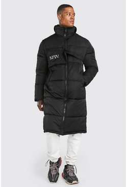 Black MAN Dash Longline Puffer with Detachable Bag