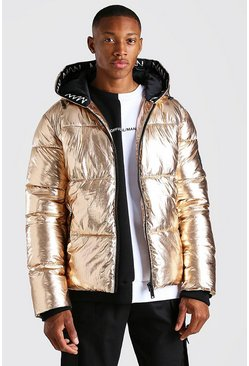 Gold MAN Dash Branded Trim Hooded Metallic Puffer
