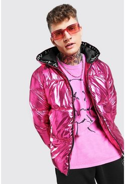 Pink MAN Dash Branded Trim Hooded Metallic Puffer