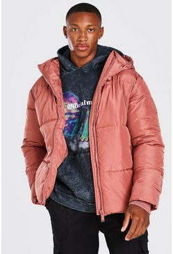 Clay Hooded Toggle Detail Puffer