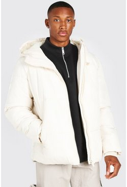 Off white Hooded Toggle Detail Puffer