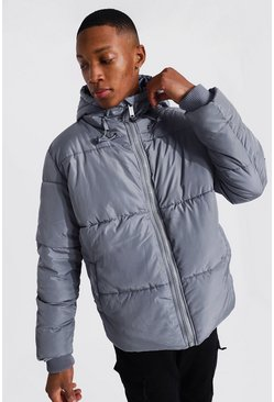 Denim-blue Hooded Toggle Detail Puffer
