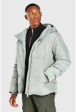 Mint Hooded Toggle Detail Puffer