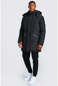 Black Toggle Detail Longline Hooded Puffer