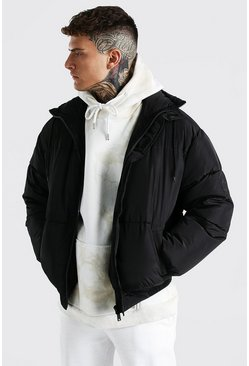 Black Funnel Neck Oversized Puffer