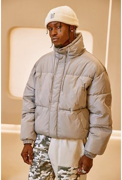 Light grey Funnel Neck Oversized Puffer