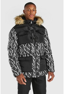Black All Over MAN Branded Buckle Fastening Parka