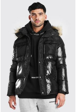 Parka brillante mate, Noir
