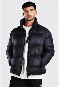 Black Oversized Curved Hem Puffer